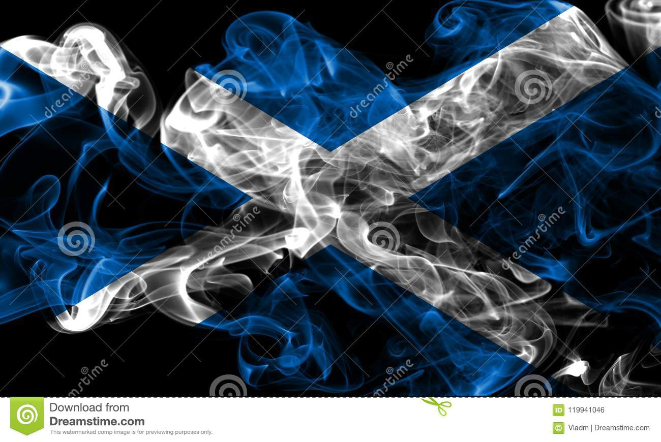 Scotland smoke flag on a black background