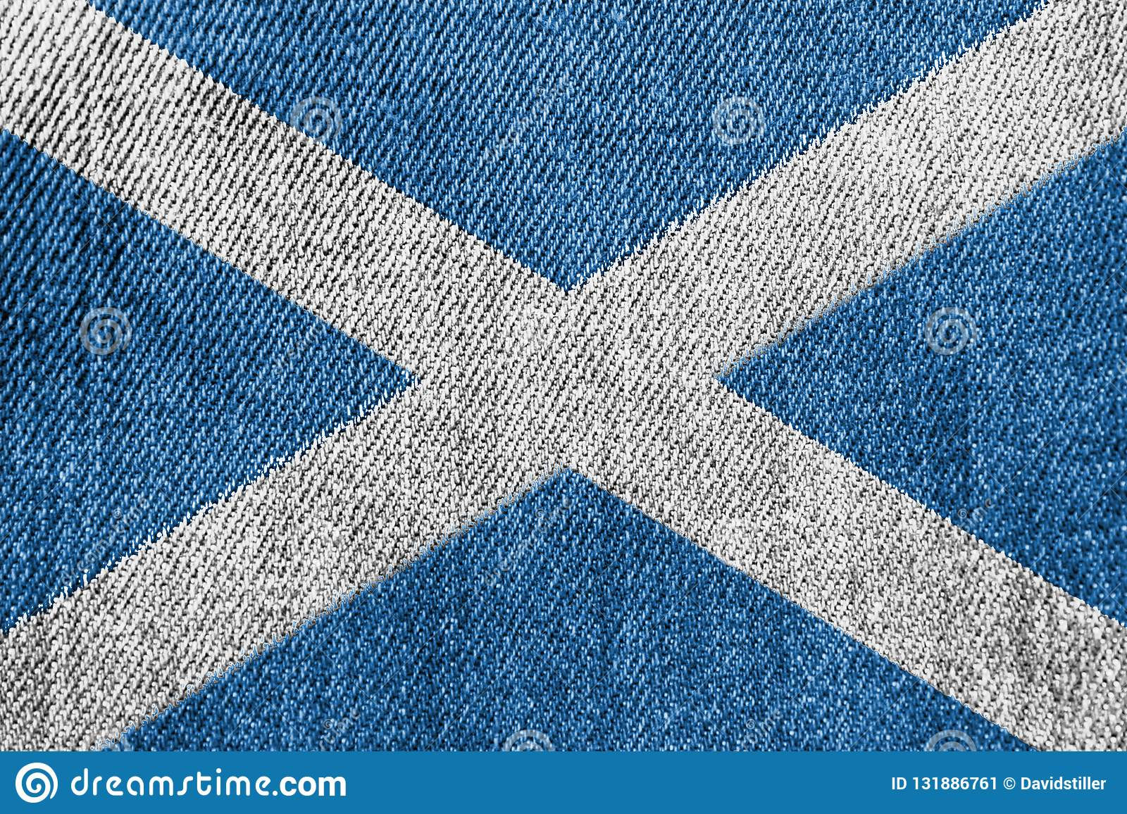 Scotland Textile Industry Or Politics Concept: Scottish Flag Denim Jeans