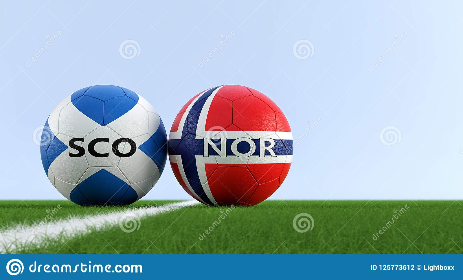 a2f059e09 Norway Soccer Match - Soccer balls in Scotland and Norway national colors on