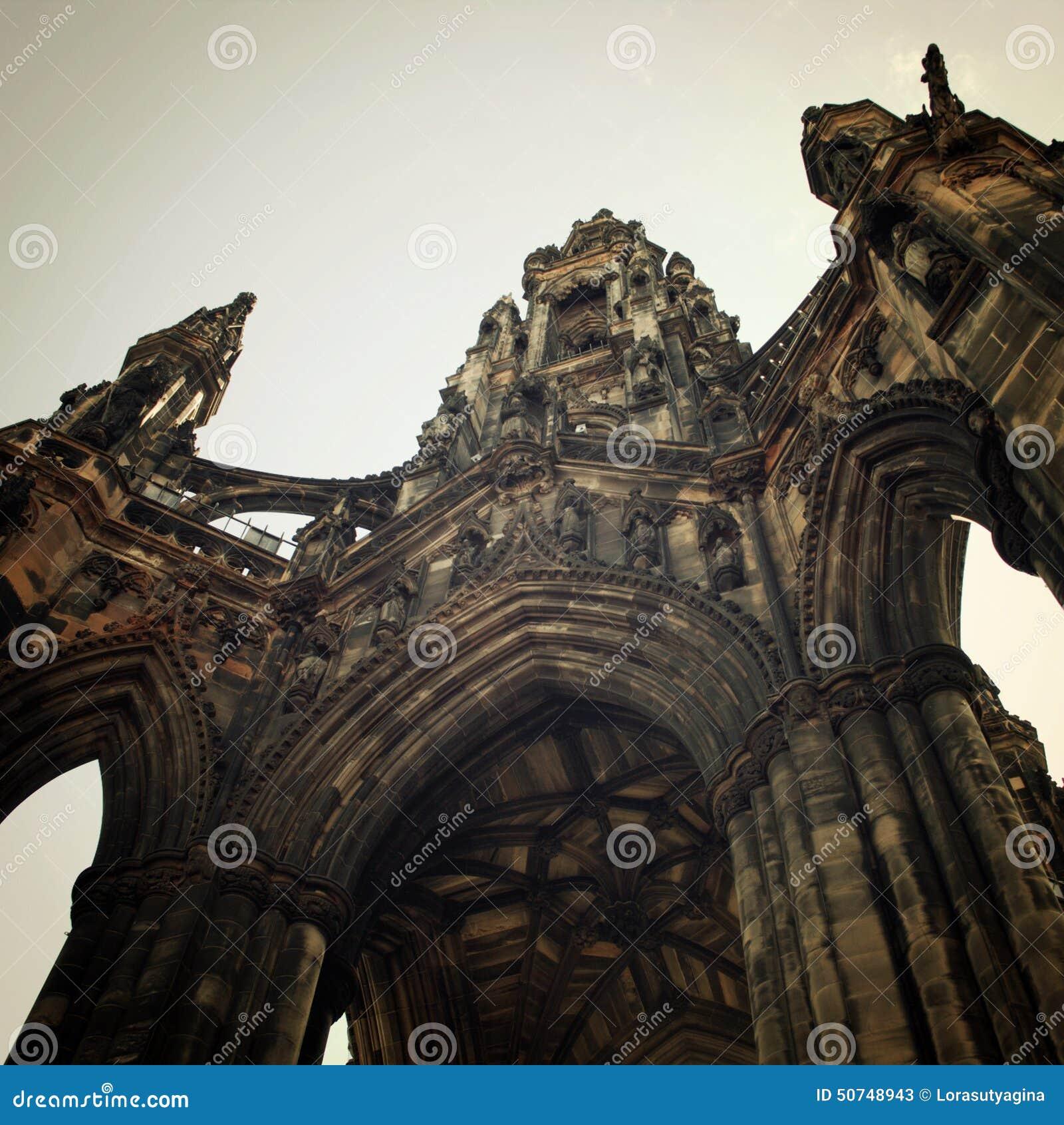 Scott Monument Vintage Effect. Victorian Gothic Architecture Ret ...