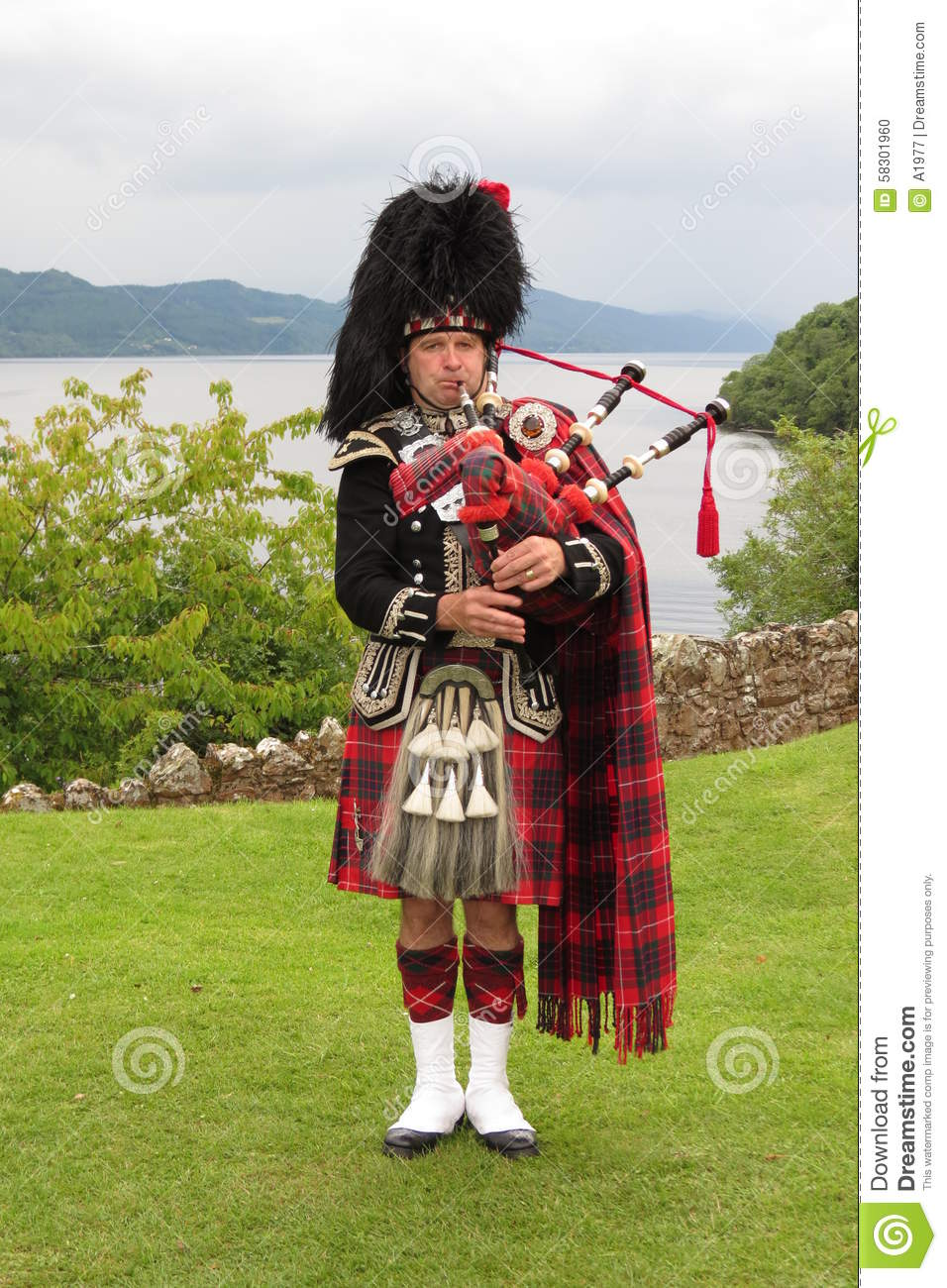 scottish bagpiper editorial image image 58301960