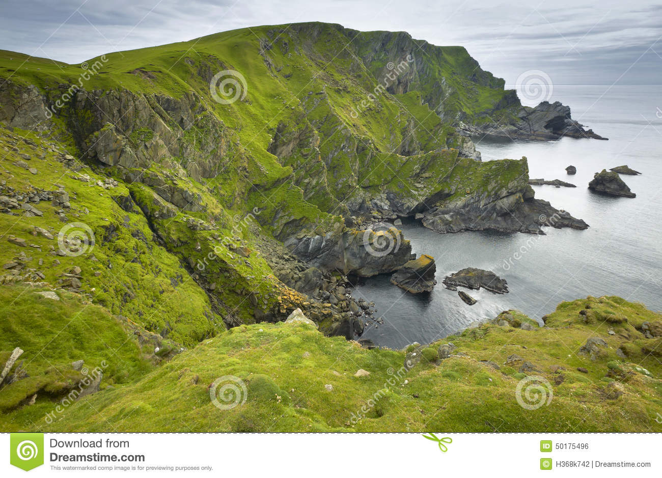 Download Scottish Coastline Landscape In Shetland Islands. Scotland. UK Stock Photo - Image of earth, green: 50175496
