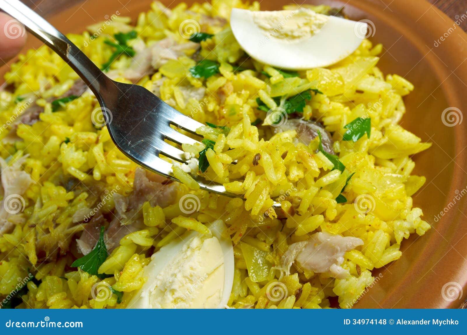 Scottish dish - Kedgeree, flakes of smoked herring baked with rice ...