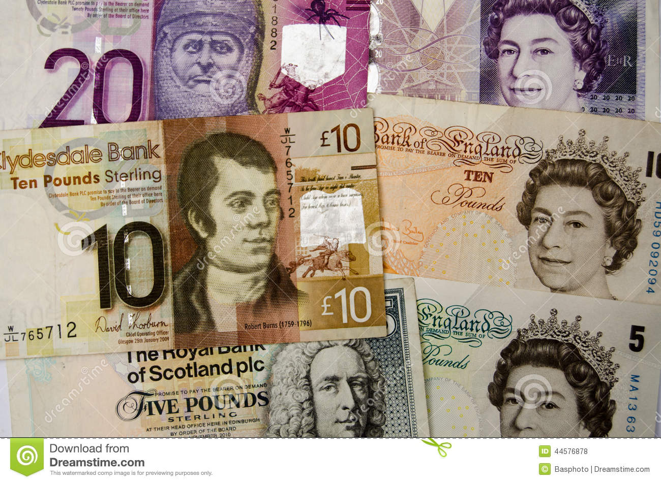 Scotland Sterling notes Scottish coin coins money currency finance ...