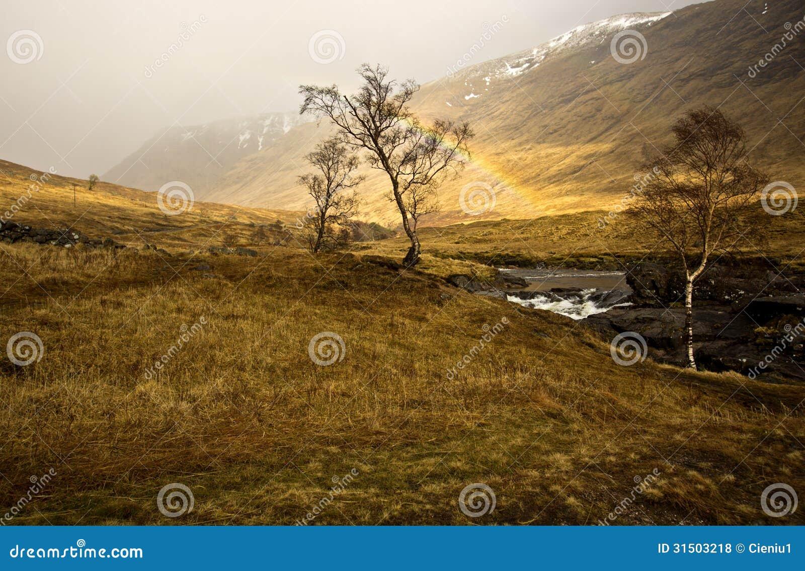 Download Scottish Highlands Rainbow stock photo. Image of river - 31503218