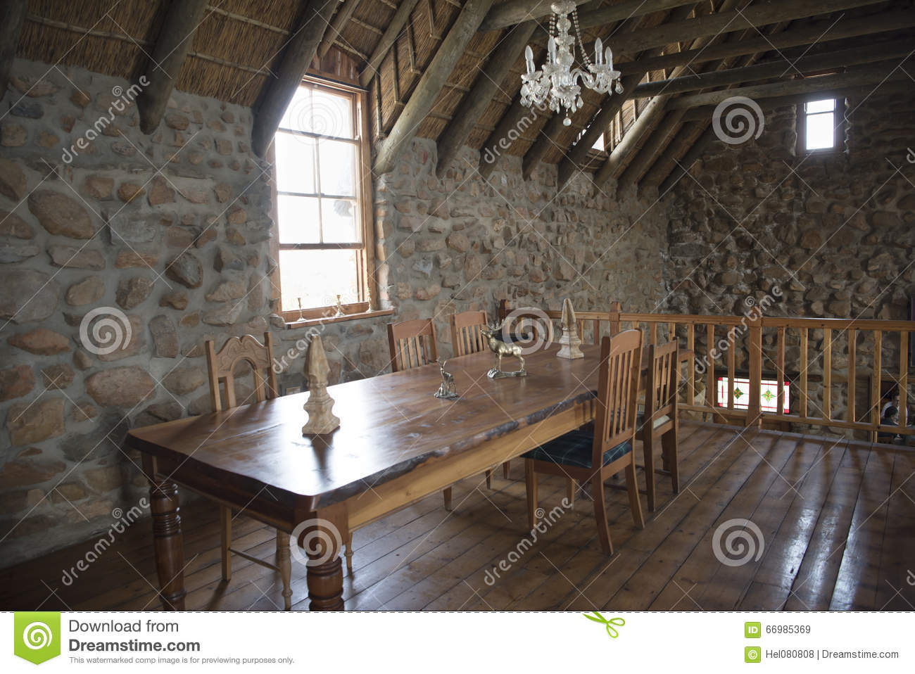 scottish interior of old dry stone house stock image