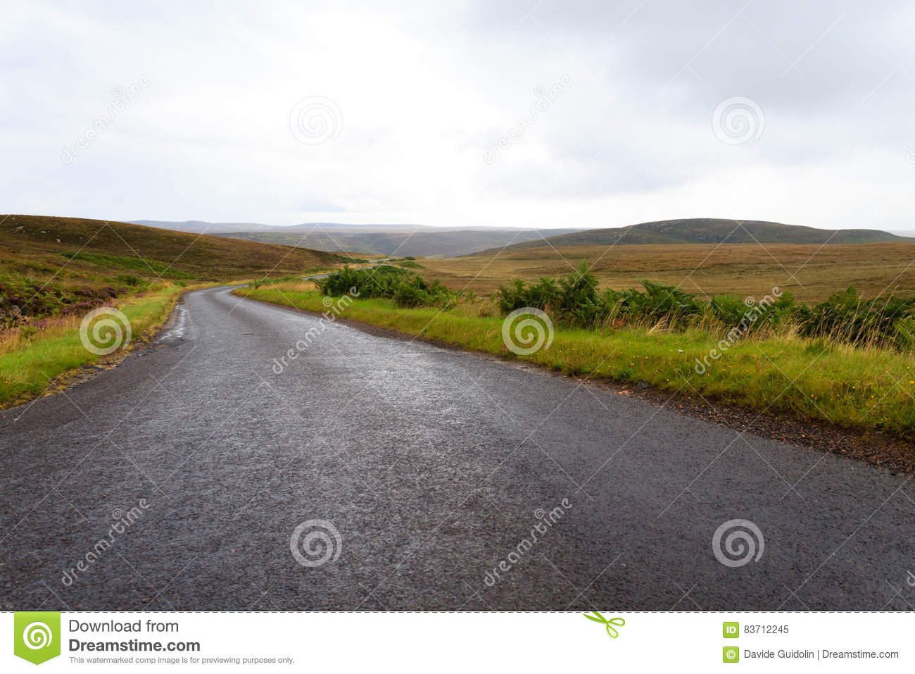 Scottish Road Trough Countryside Stock Photo