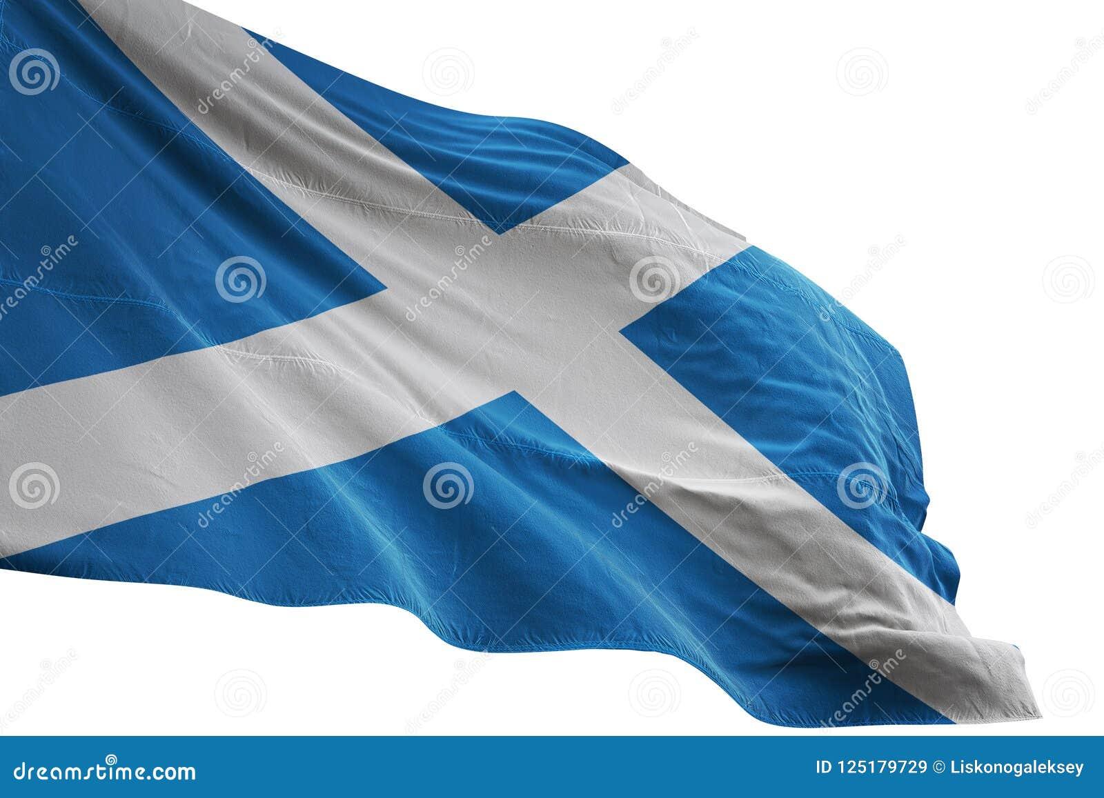 Scotland national flag waving isolated on white background 3d illustration