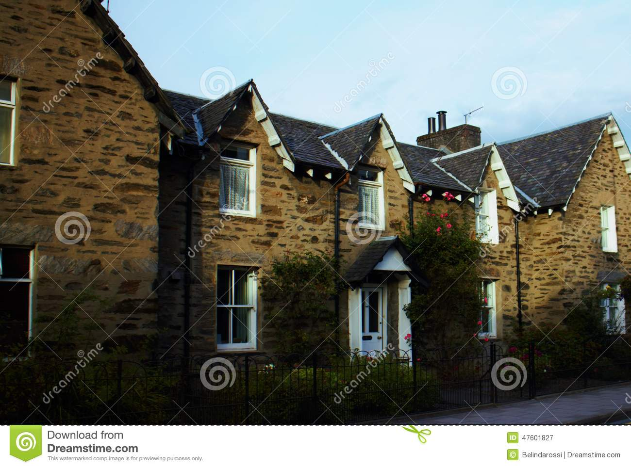 Scottish Stone Townhouse At Twilight In Pitlochry Stock
