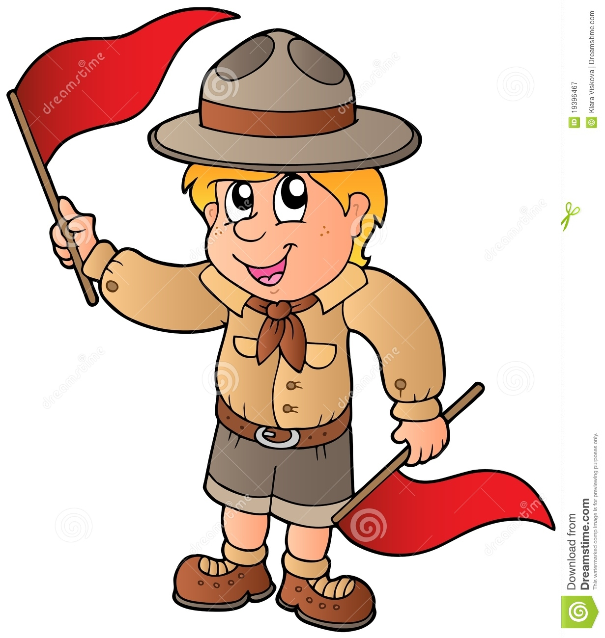scout boy giving flag signal stock vector illustration of apparel