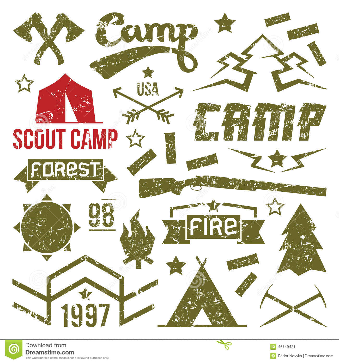 scout camp badges stock vector image of icons activity