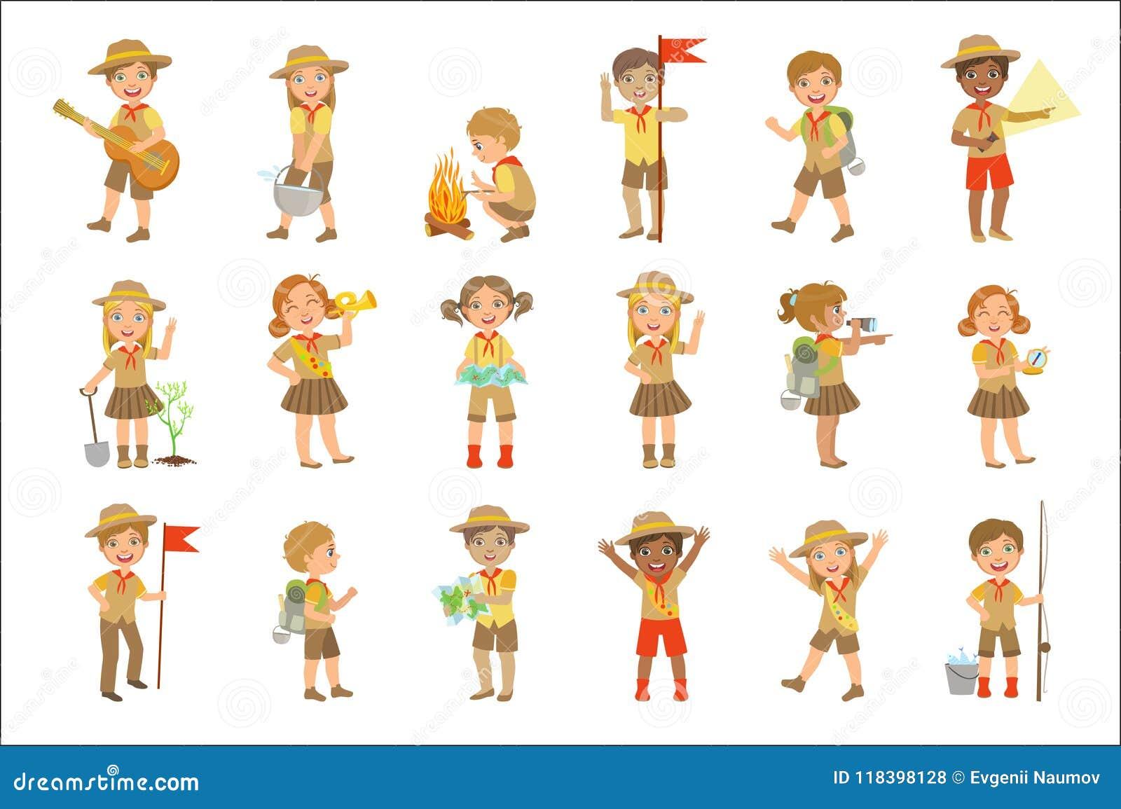 Scouts d enfants augmentant l ensemble