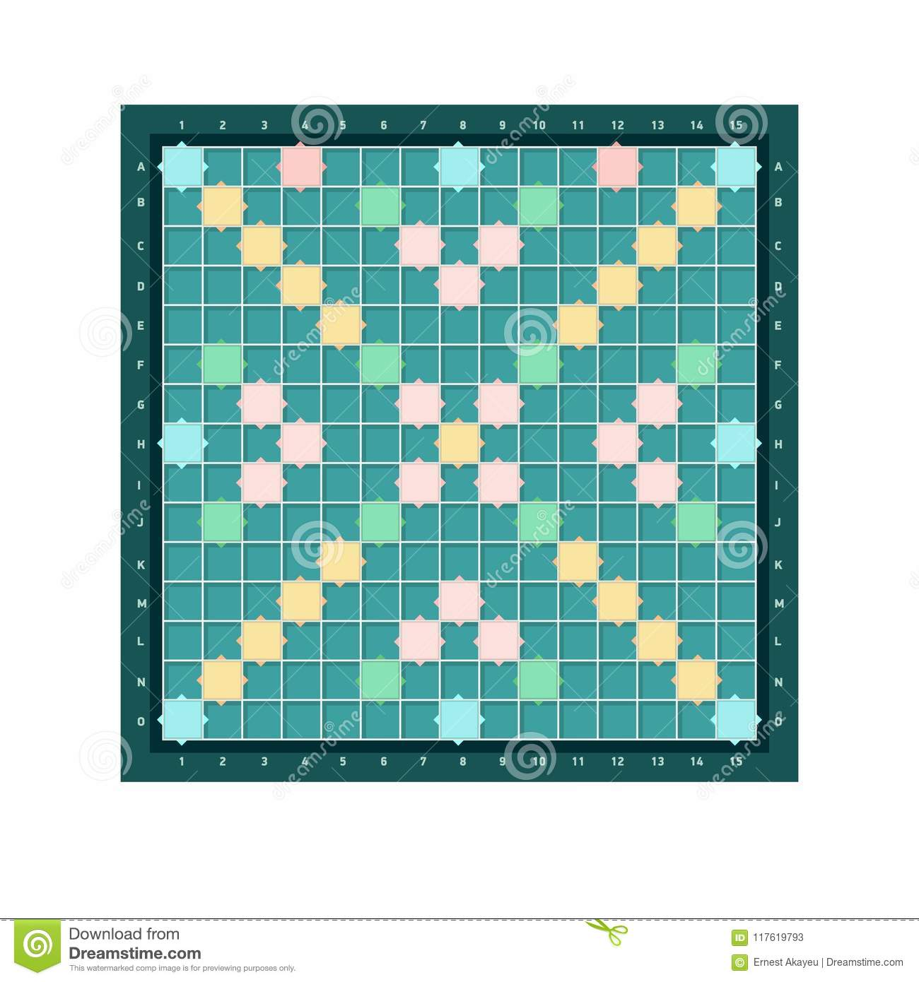 Scrabble Or Erudite Square Board Design With Grid Of Blank Colorful Cells Popular Intellectual Tabletop
