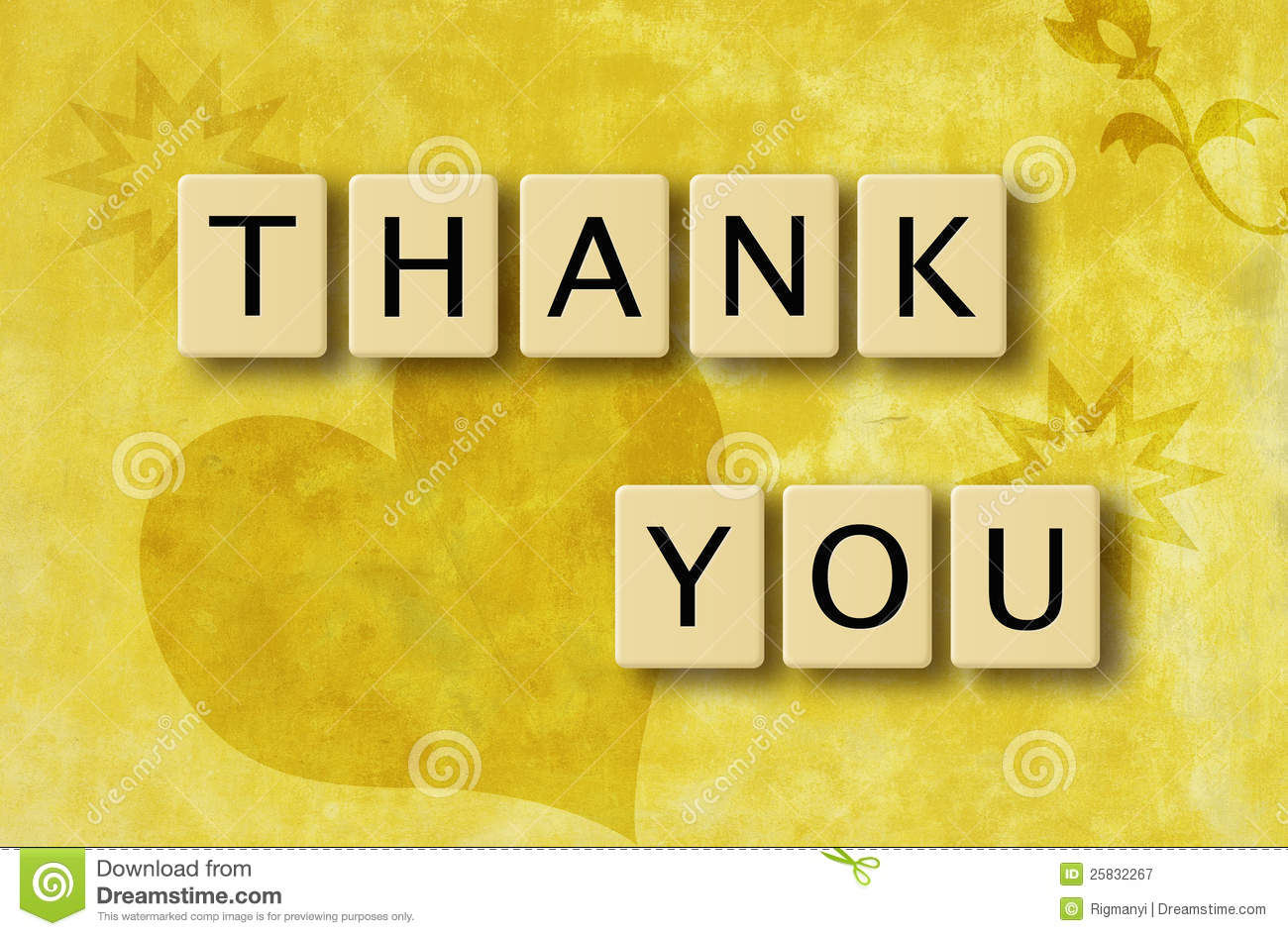 Wooden scrabble tiles spelling out Thank You against yellow background ...