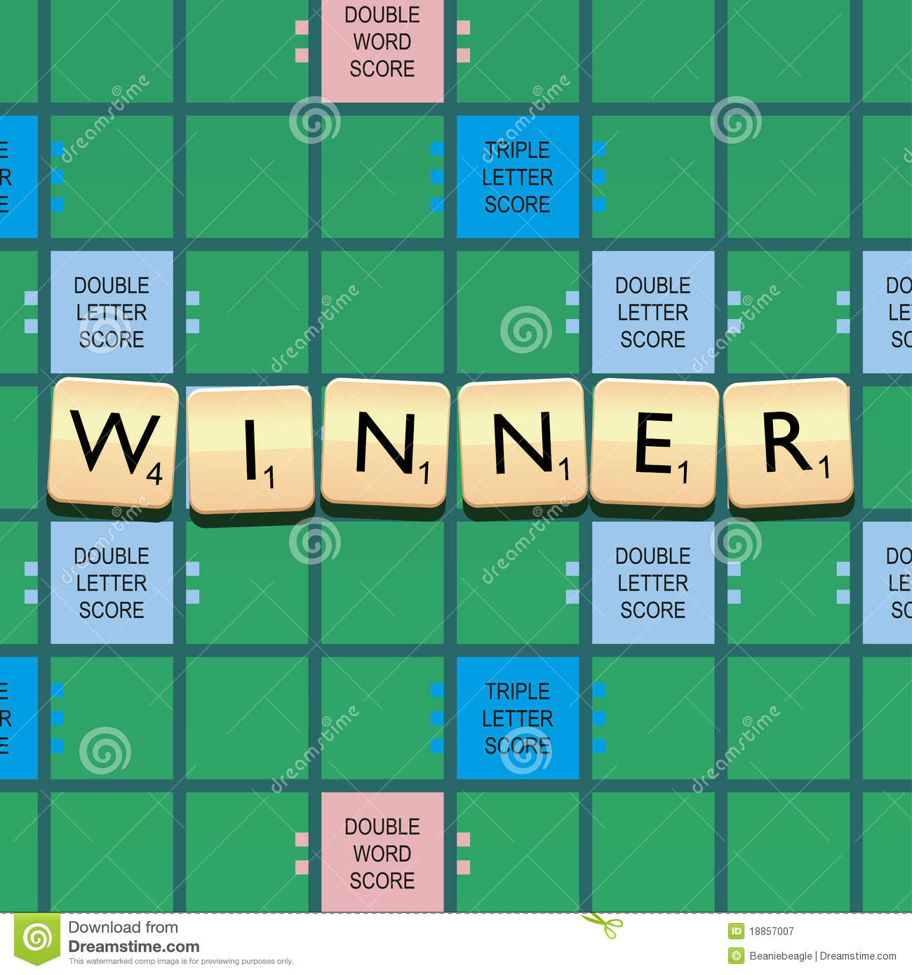An illustration of a scrabble board game with the word winner written ...
