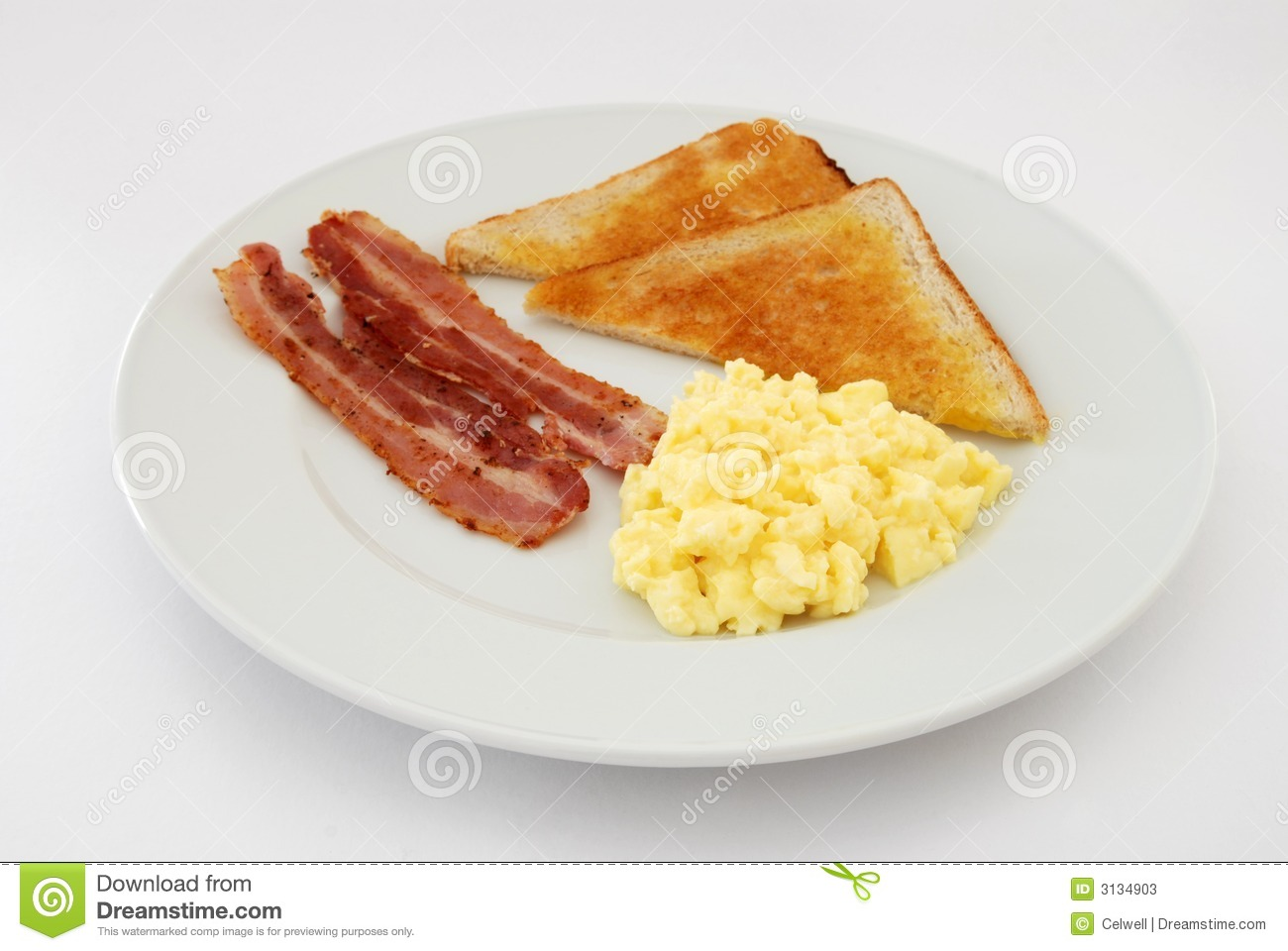 Scrambled Eggs With Bacon Stock Photos - Image: 3134903