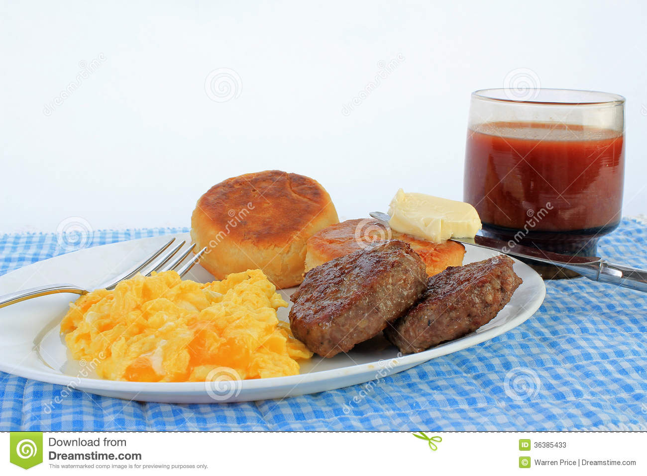 Scrambled Eggs And Sausage Patties Stock Image - Image ...