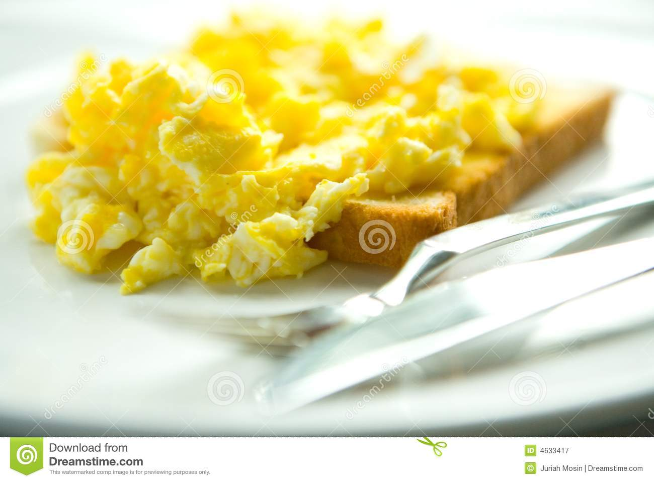 Download Scrambled eggs on toast stock image. Image of bread, protein - 4633417