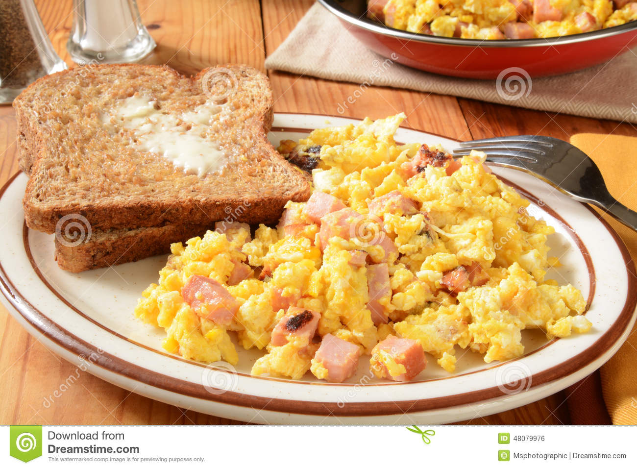 Download Scrambled Eggs And Toast Stock Photo Image Of Meal Cheese