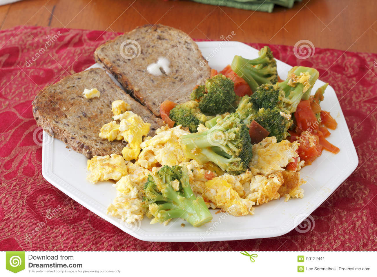 Scrambled Eggs Vegetables and Toast Breakfast