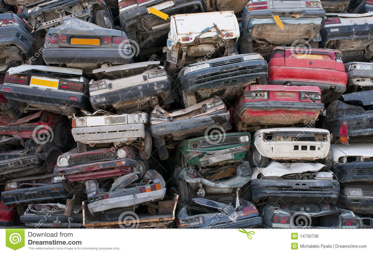 Scrap cars for recycling stock photo. Image of pollution - 14730738