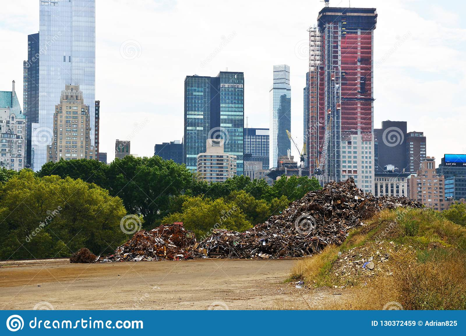 Scrap Metal Pile In Center Of Central Park New York City With Dark Clouds On Sky Pollution Concept Stock Image Image Of Public Nature 130372459