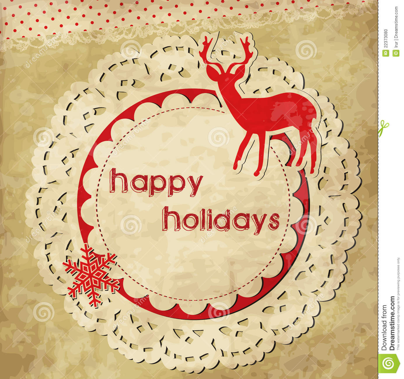 Scrap Template With Deer Stock Vector Illustration Of Snowflake