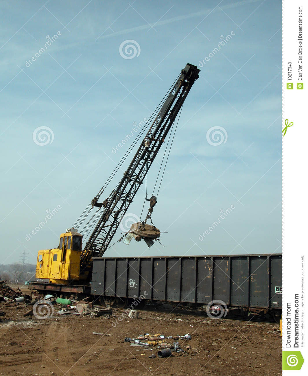 Yard Boss Industrial Cranes : Scrap yard crane with magnet stock photo image of metal