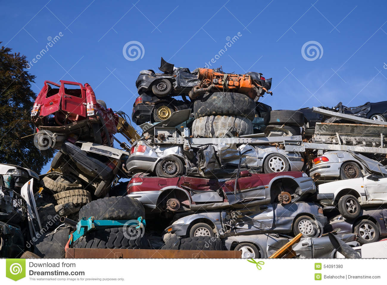 Scrap Yard For Obsolete Motor Cars. Stock Photo - Image of another ...