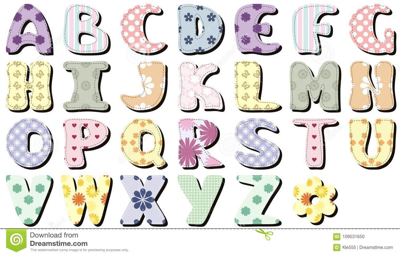 Scrapbook Letters On White Background Illustration Stock