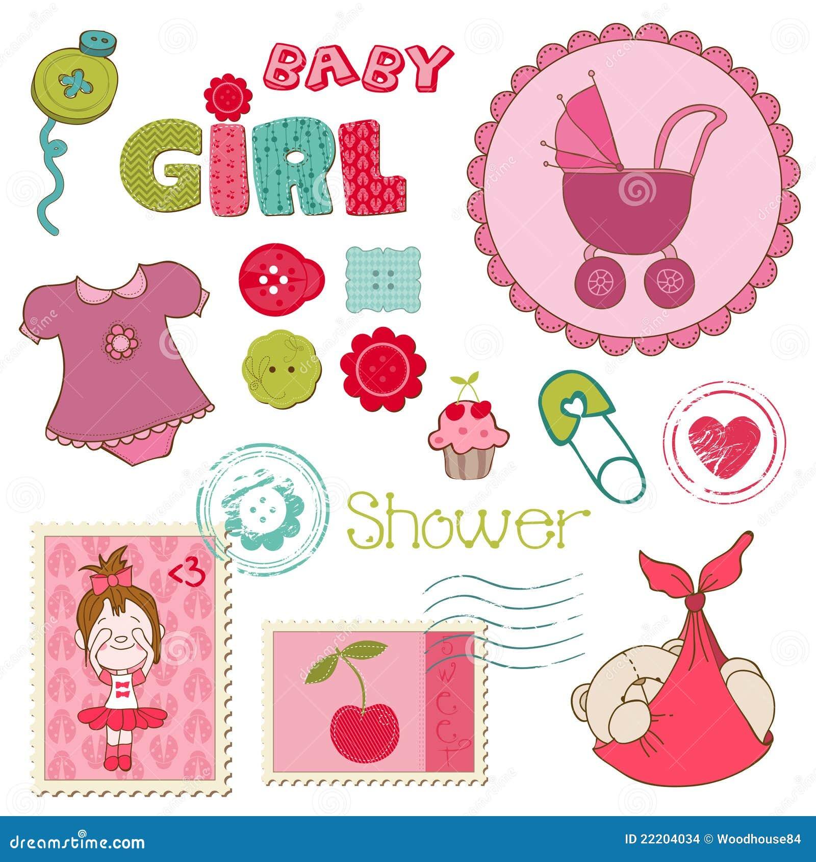 How to scrapbook for baby girl - Scrapbook Baby Shower Girl Set Stock Images