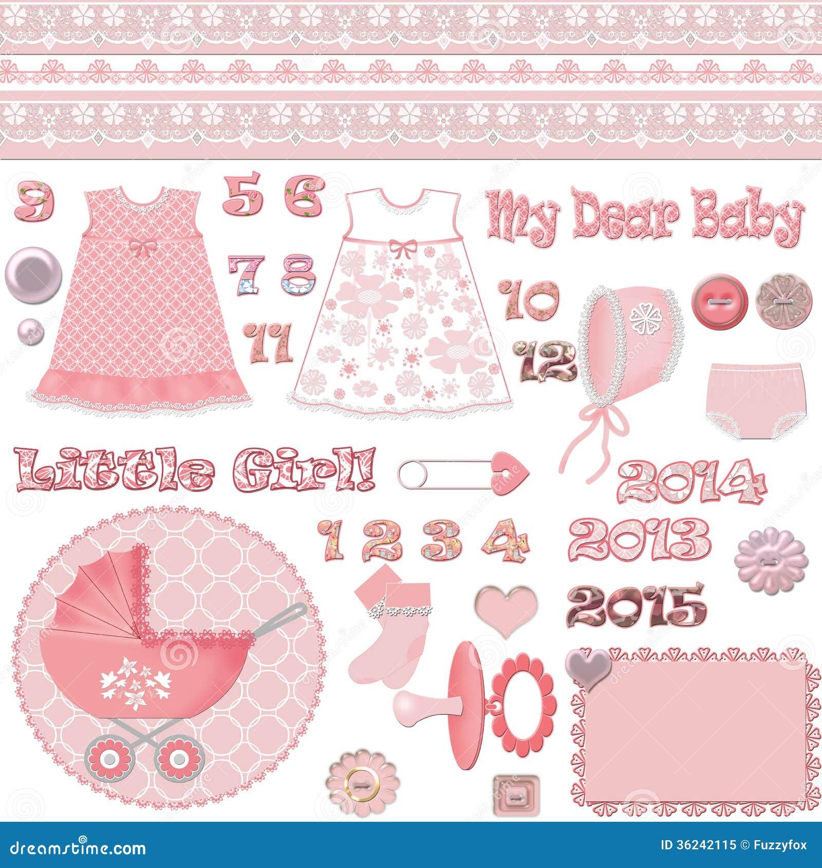 How to scrapbook for baby girl - Scrapbook Baby Shower Girl Set