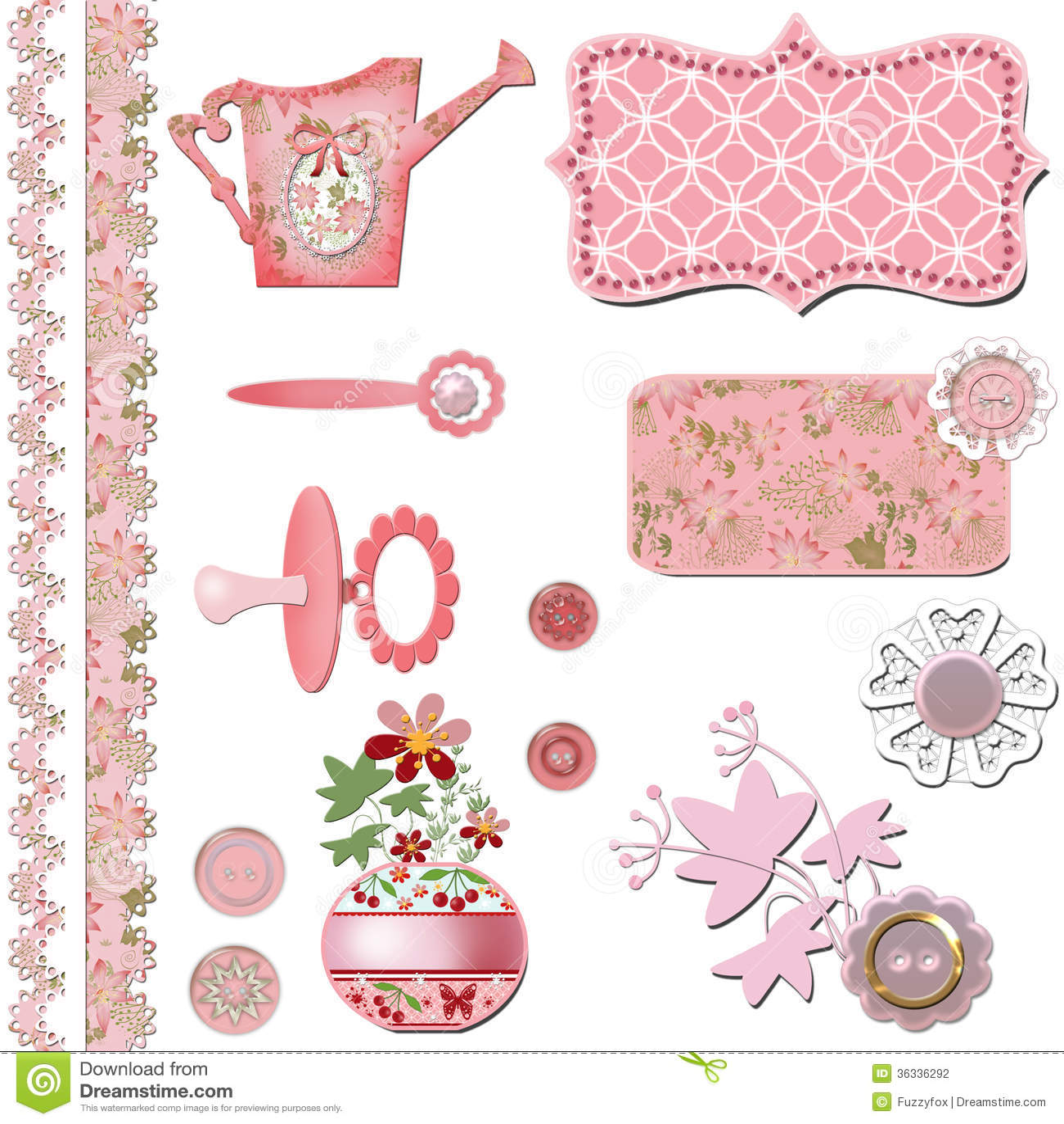 How to scrapbook for baby girl - Scrapbook Baby Shower Girl Set Design Stock Photography
