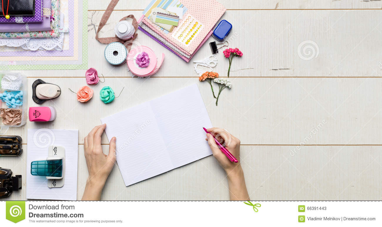 Scrapbook Background Albums And Tools With Decoration Stock Image