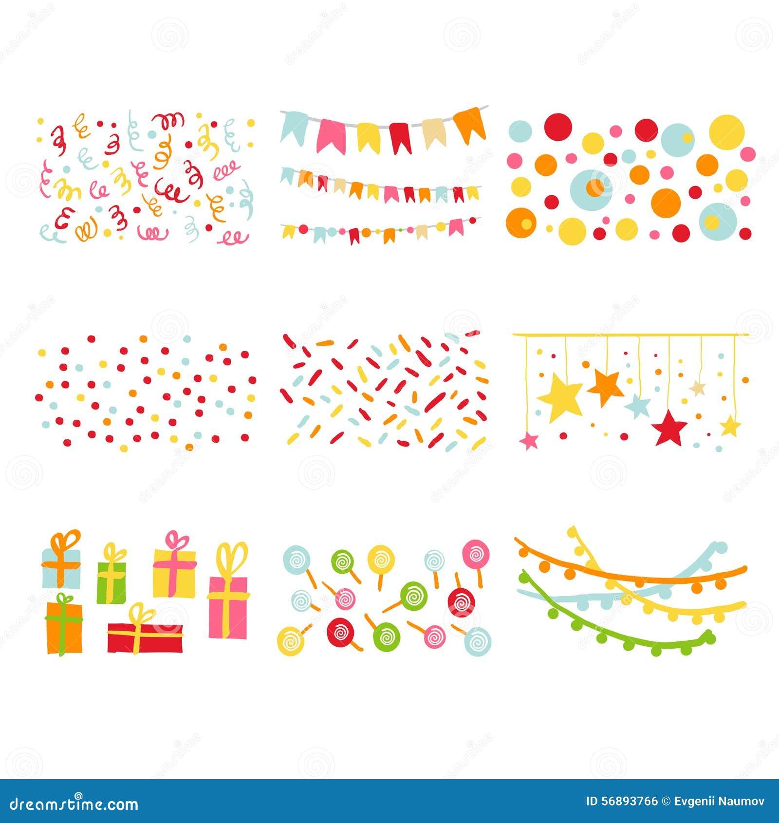 Scrapbook Design Elements Birthday Party Set Stock Vector