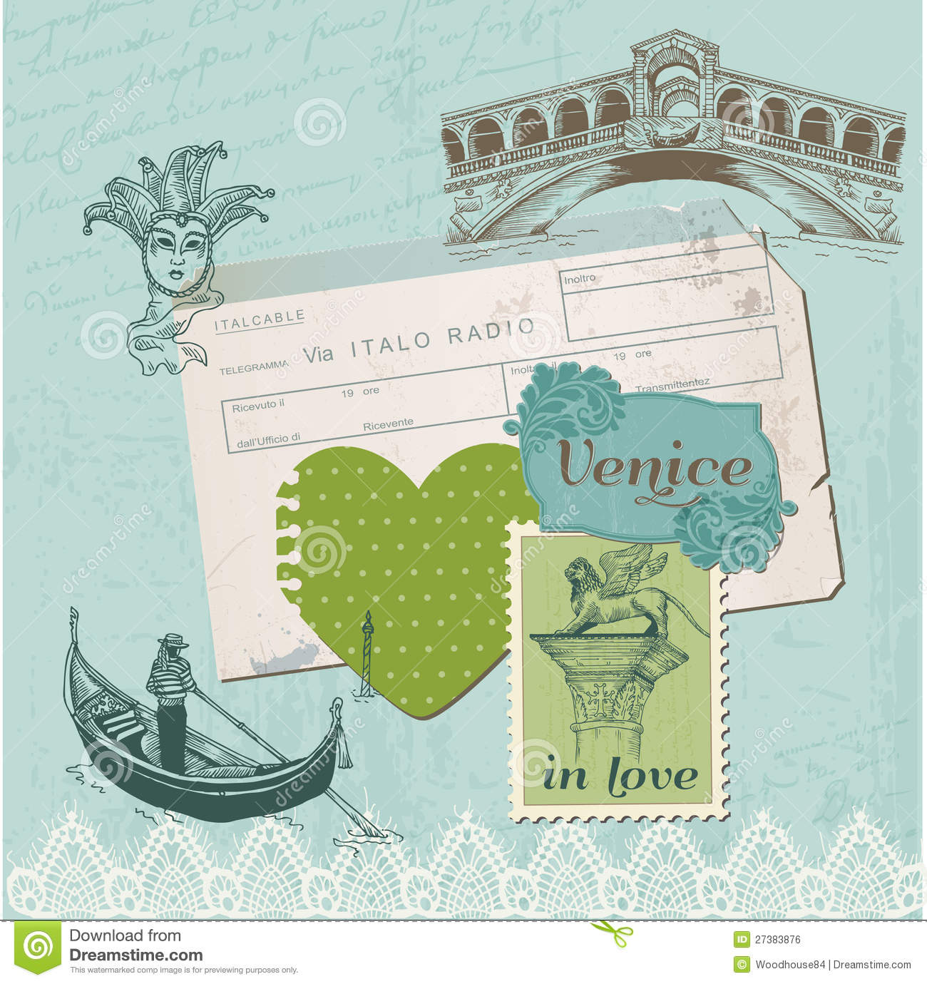 Vintage Scrapbook With Old Style Paper Design Elements ...