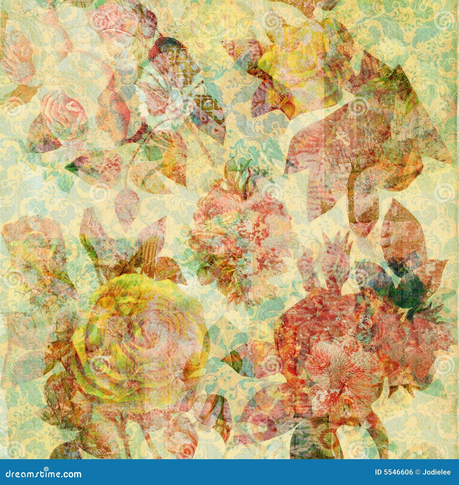 Scrapbook Floral Collage Background Stock Illustration