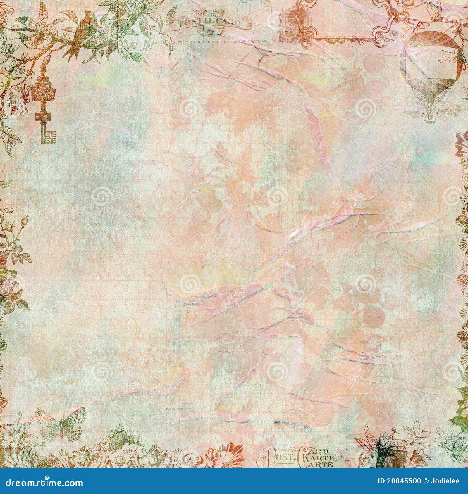Scrapbook kwiecisty ramowy pastelowy rocznik