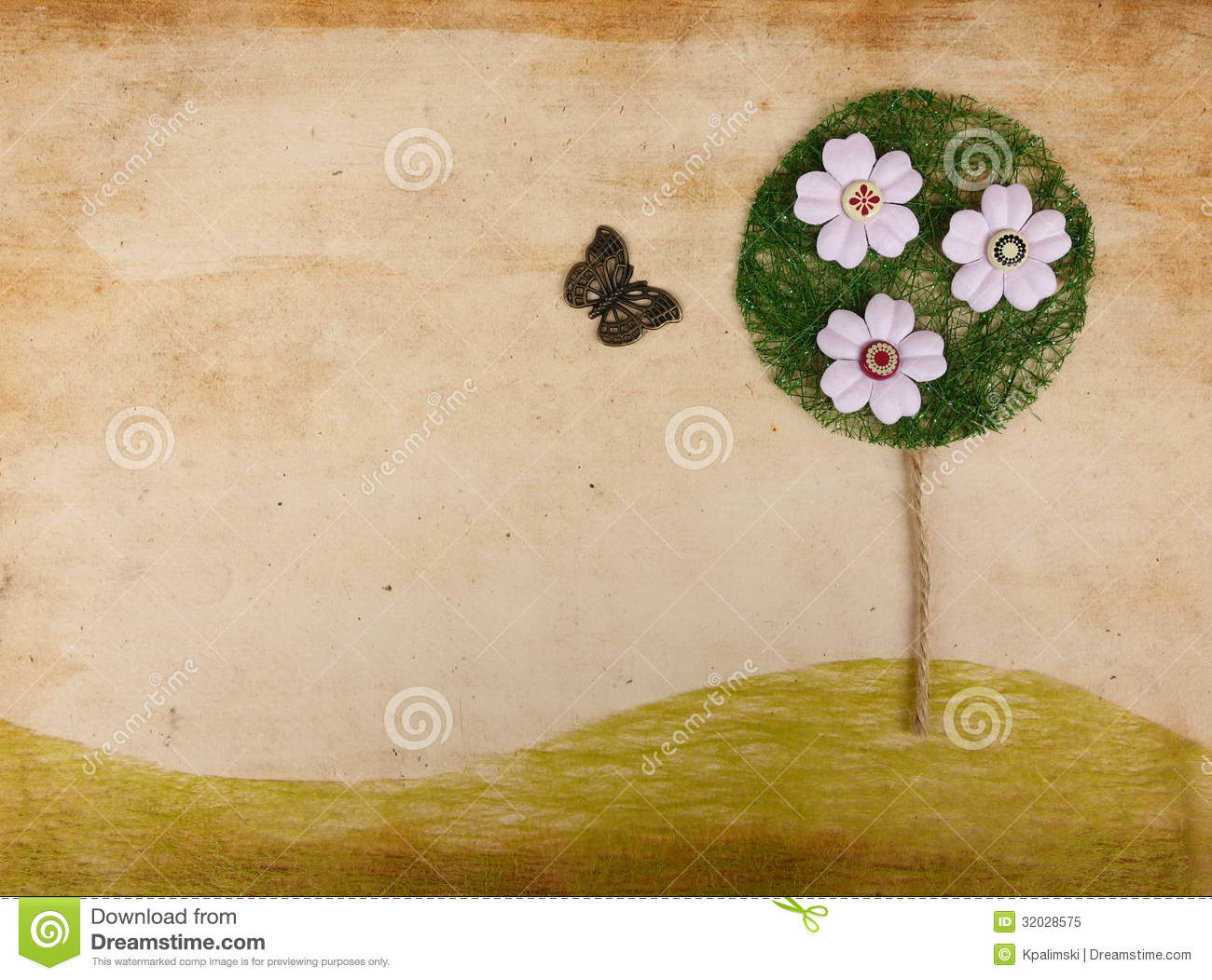 scrapbook landscape w flower tree and butterfly royalty