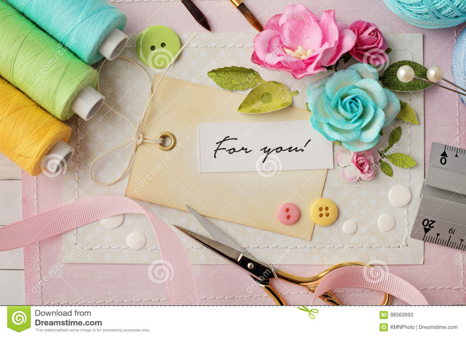 Scrapbook Materials Stock Image Image Of Handmade Paper 98563693