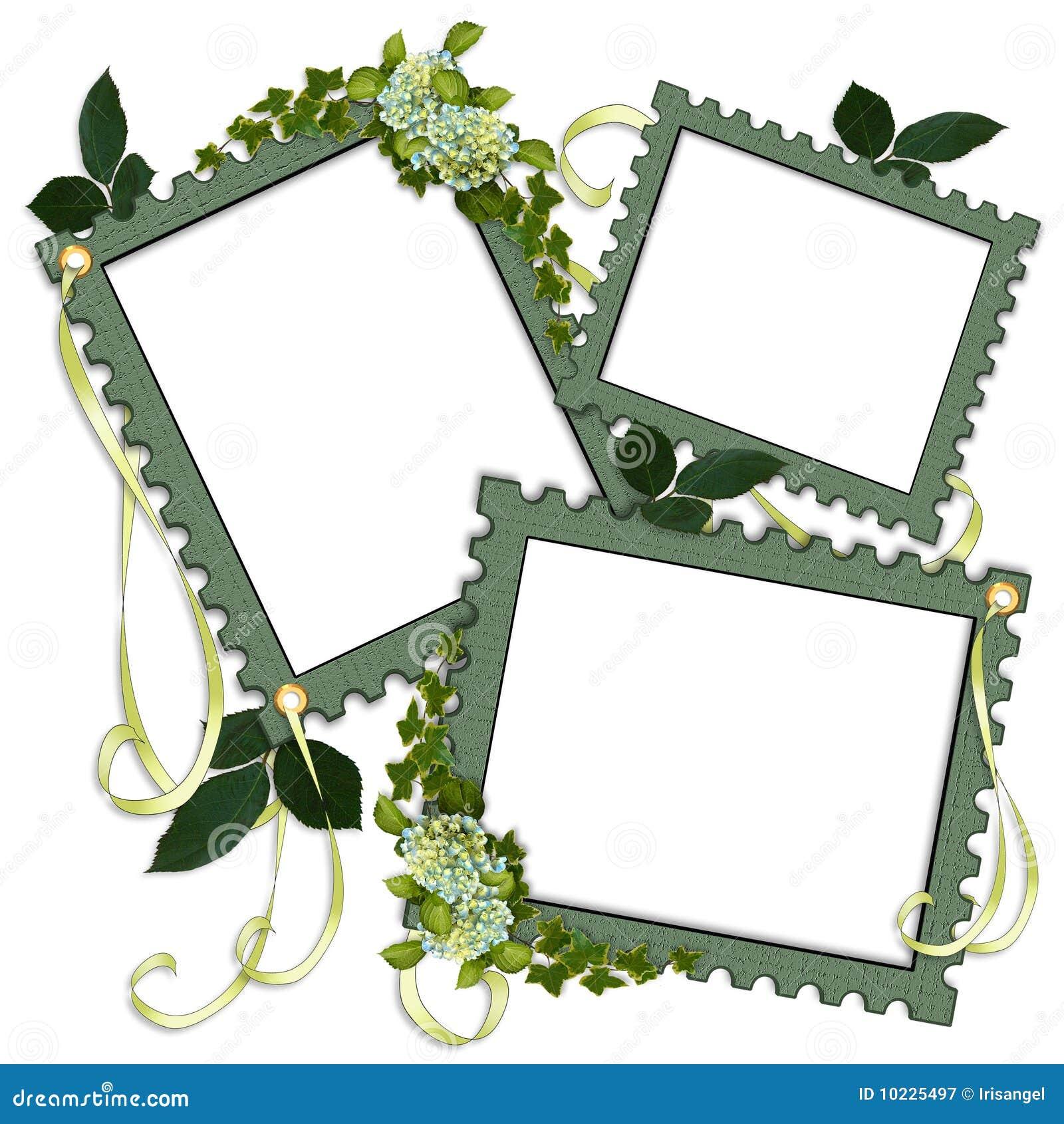 Scrapbook Page Green Floral Frames Stock Illustration - Illustration ...