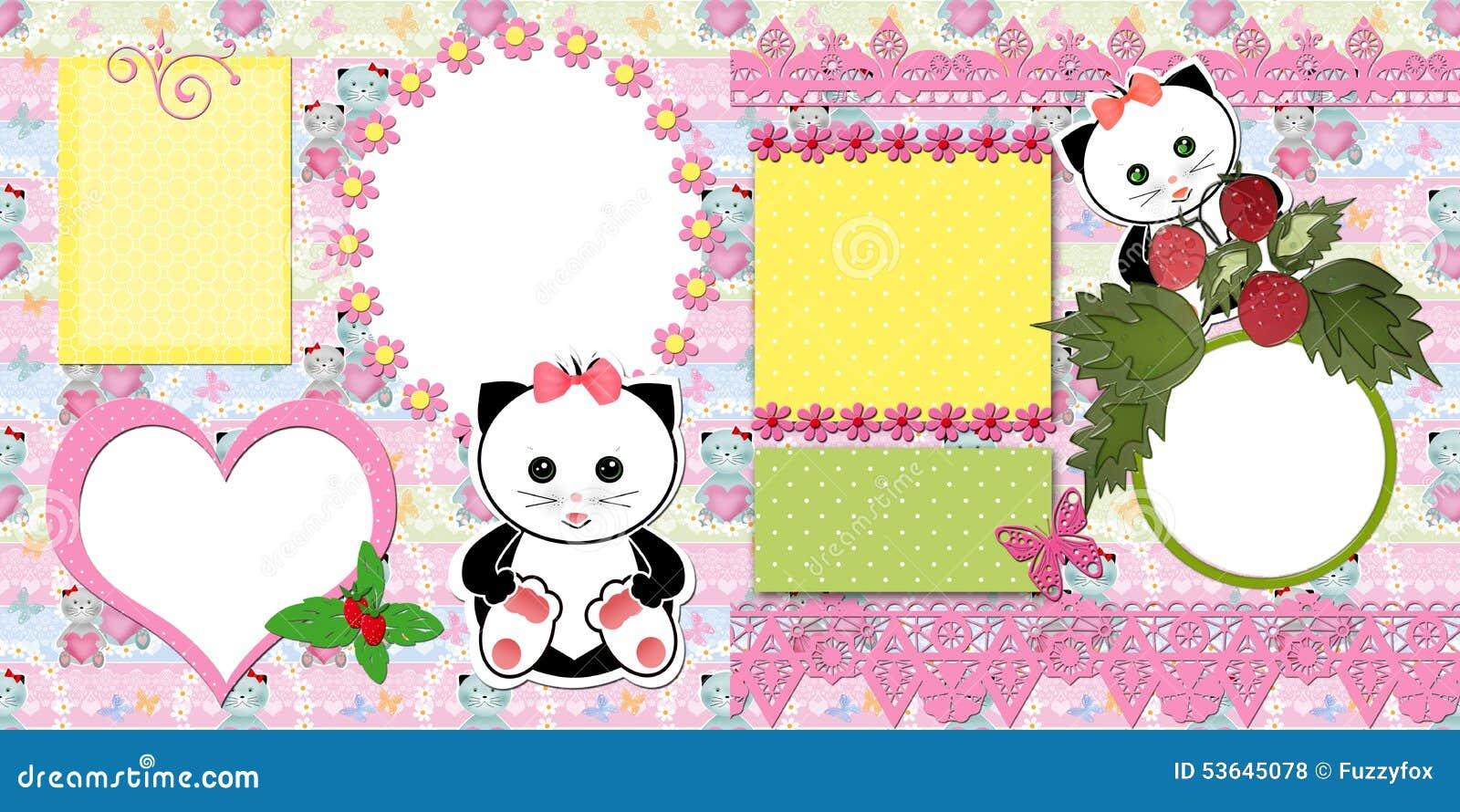 Scrapbook Page Kids Design Stock Illustration Image 53645078