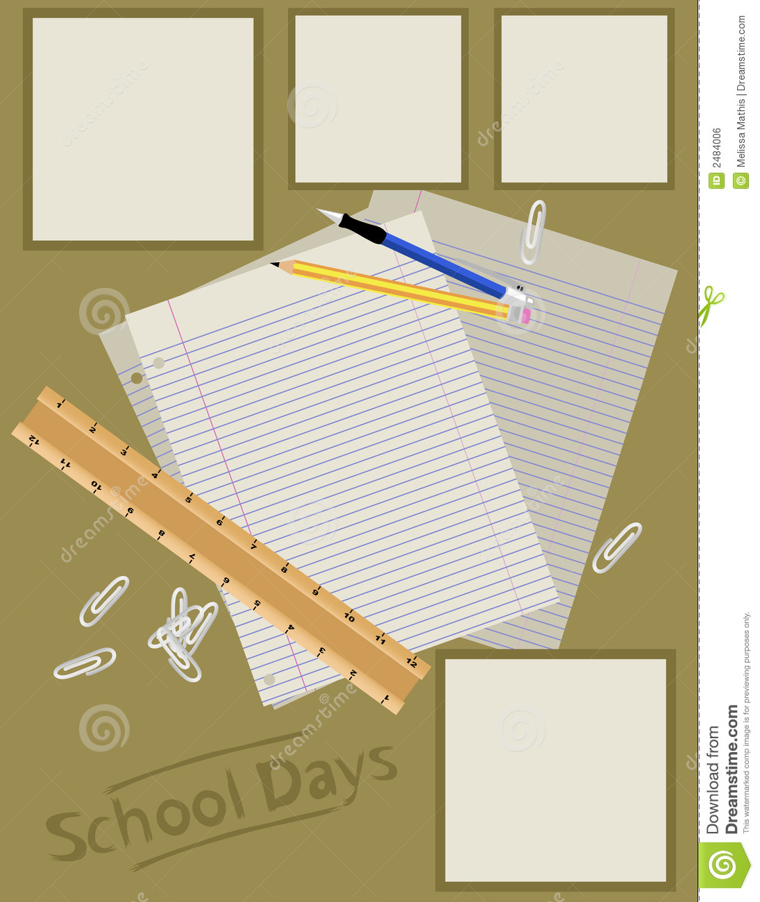 Scrapbook Page Layout School Stock Vector Illustration Of Loose