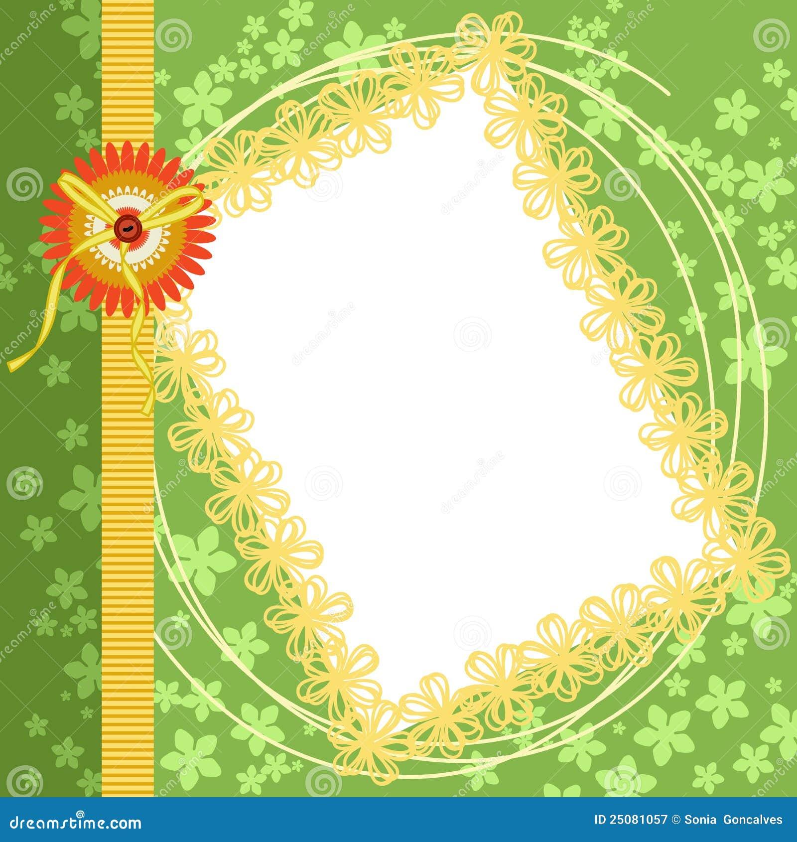 Scrapbook Page Spring Green Floral Border Illustration 25081057