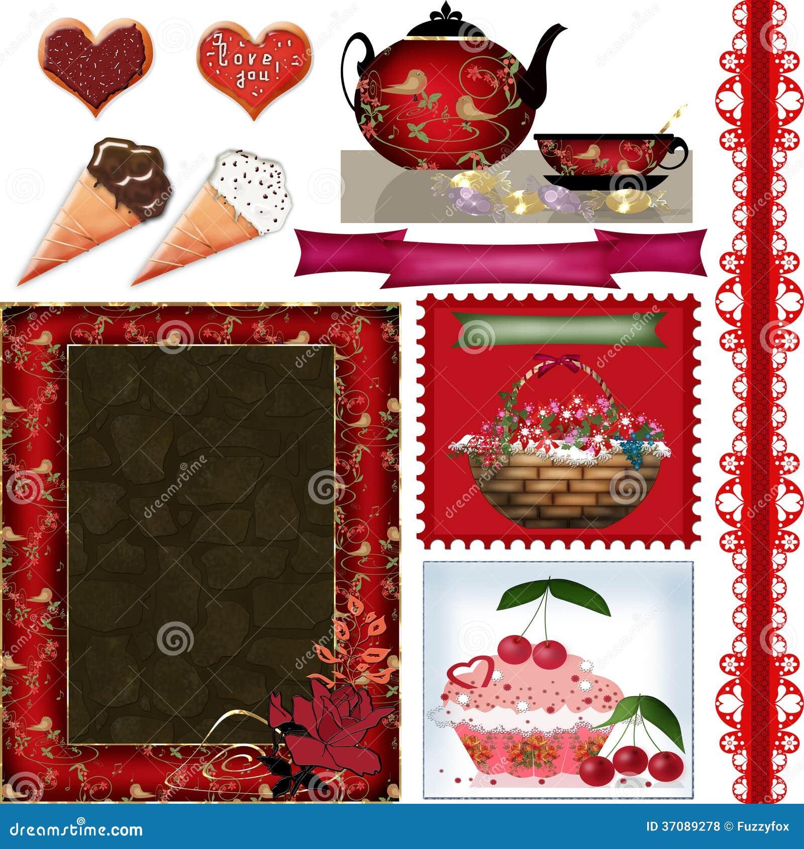 Download Scrapbook Rama Ustawia Z Valentines Dnia Elementami Na Bielu Ilustracji - Ilustracja złożonej z kardamon, dekoracyjny: 37089278