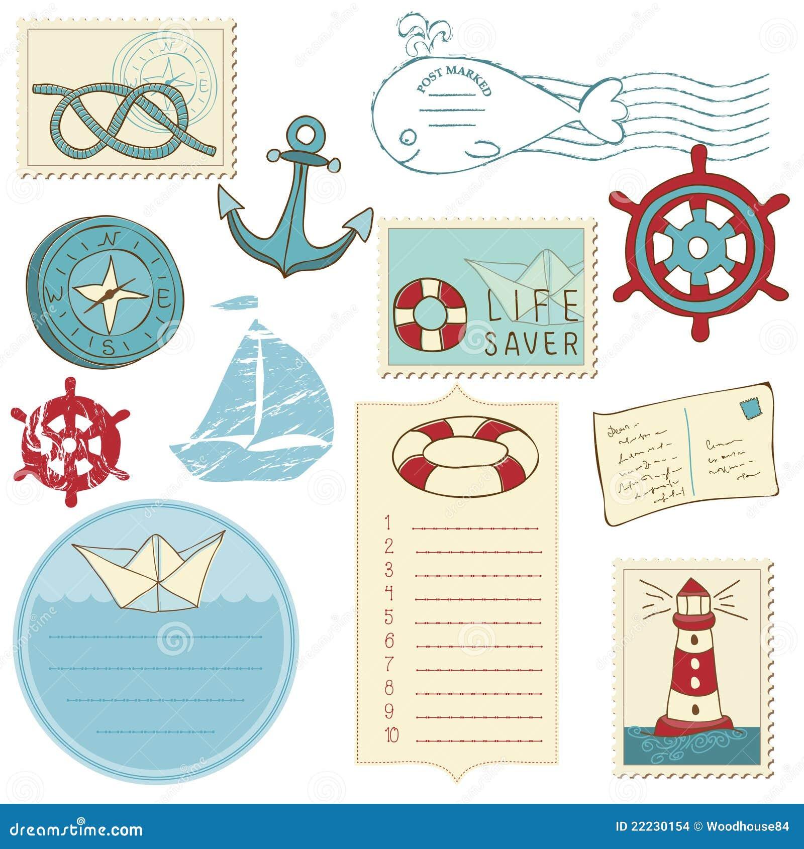 Scrapbook Sea elements stock vector. Illustration of ...