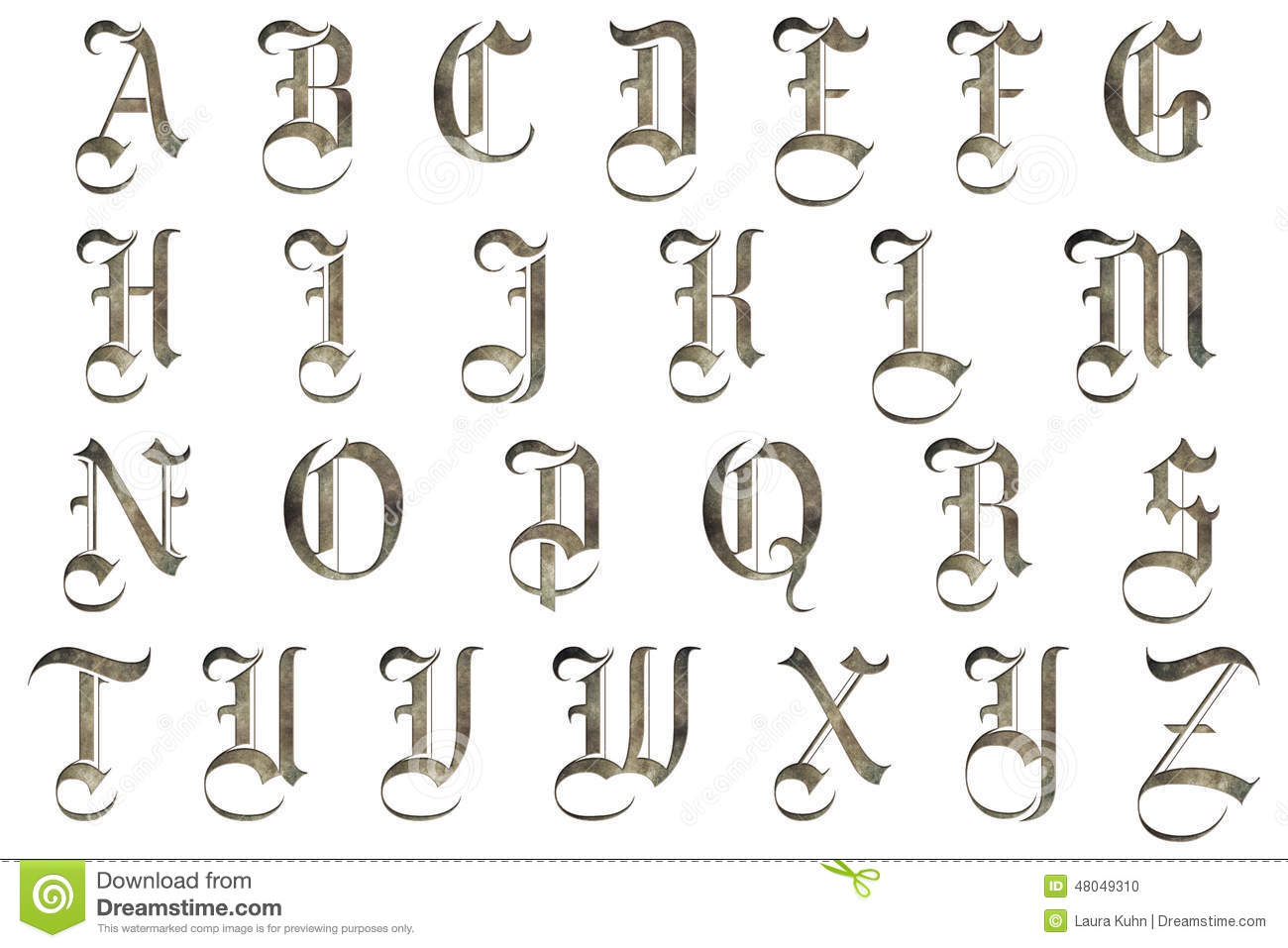 Scrapbooking Alphabet Medieval Design Stock Photo - Illustration of