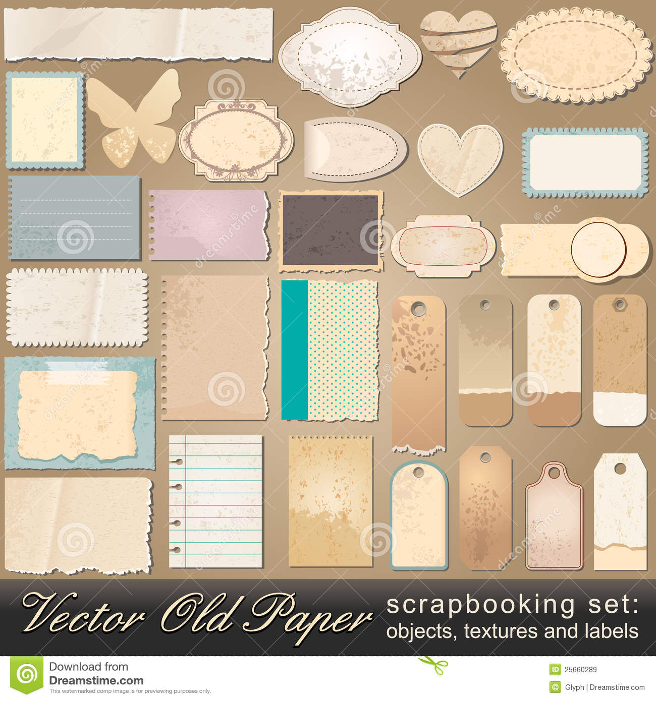 Scrapbooking set of old paper objects