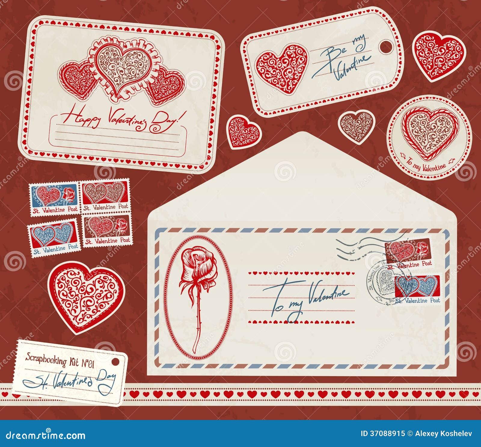 Download Scrapbooking zestaw. ilustracji. Ilustracja złożonej z koperta - 37088915