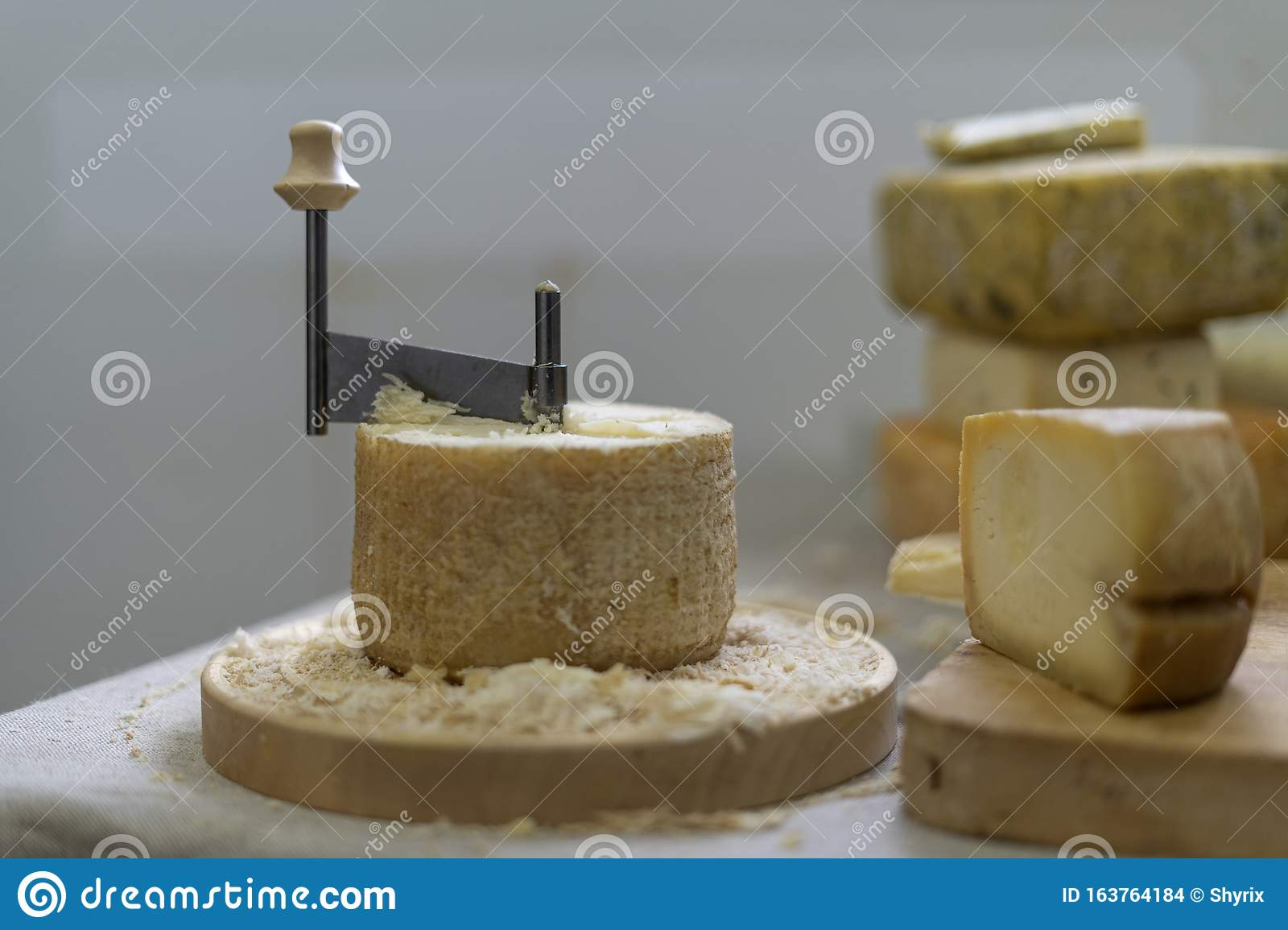 Groovy Scraping Device Of Swiss Cheese Tete De Moine Stock Photo Image Funny Birthday Cards Online Inifodamsfinfo